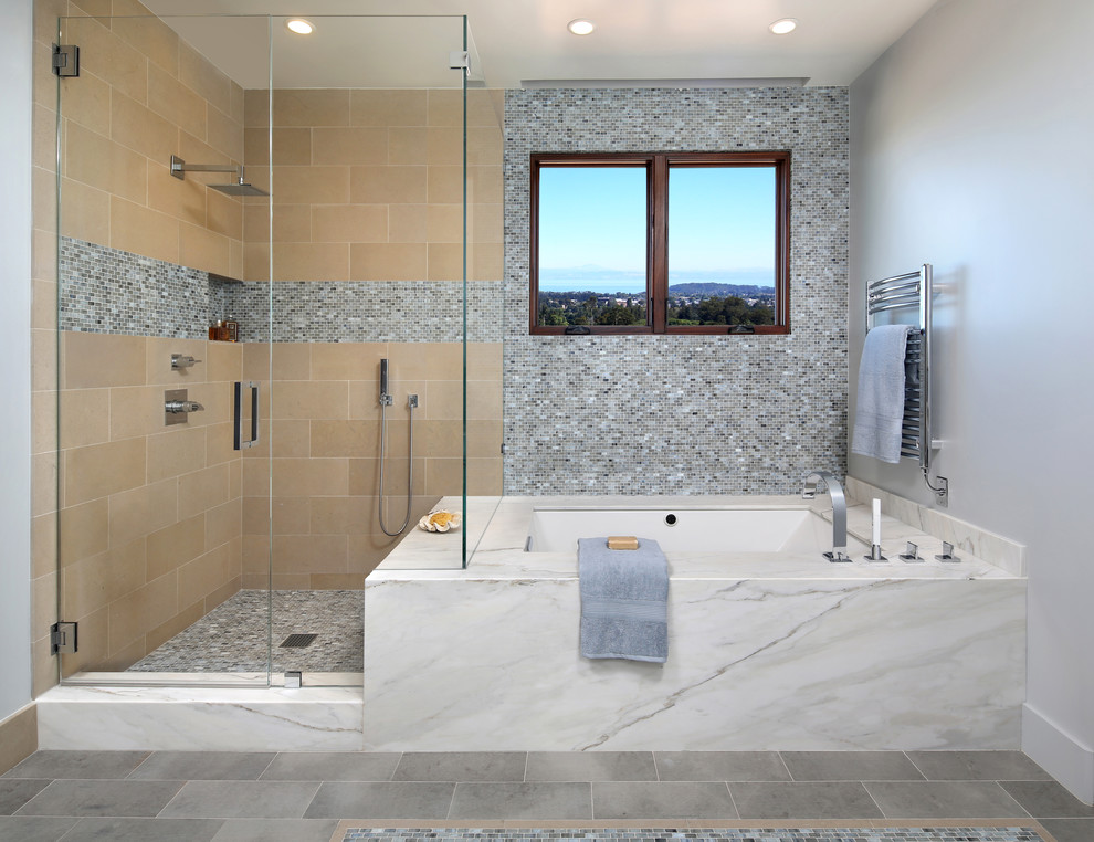 Inspiration for a large contemporary master beige tile, multicolored tile and mosaic tile porcelain tile and gray floor corner shower remodel in San Francisco with an undermount tub, gray walls and a hinged shower door