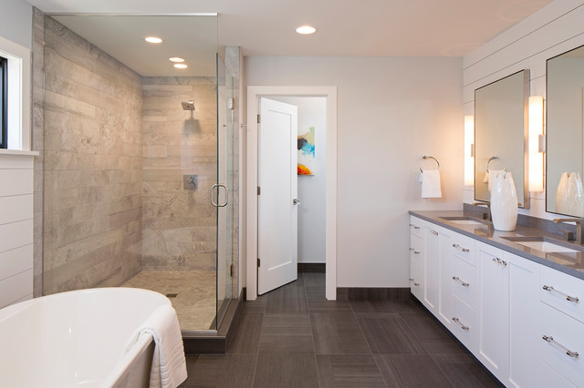 Mid-sized trendy master bathroom photo in Minneapolis with flat-panel cabinets, a drop-in sink, a hinged shower door and white cabinets