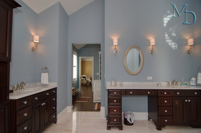 Nothing But Blue Skies Master Bath Before And After: Contemporary Vaulted Master Bath In Sky Blue