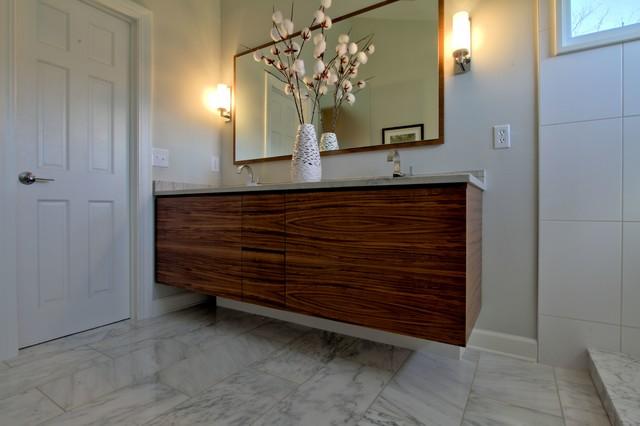 Contemporary Walnut Vanity Wall Hung With White Macaubas