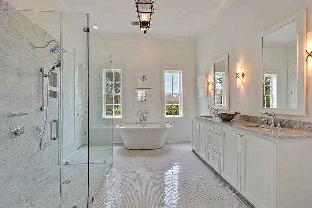 Contemporary White Master Bath Bathroom