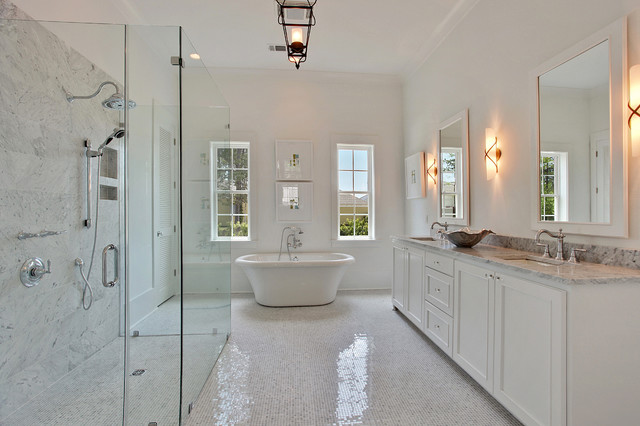 Contemporary white master bath for Master bathroom white