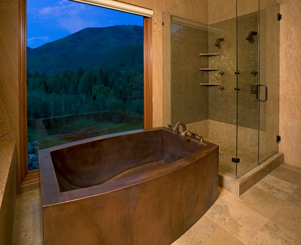 Example of a large trendy master freestanding bathtub design