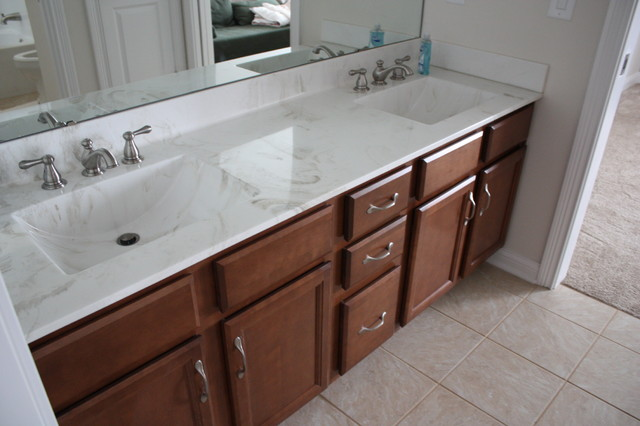 Contractor's Choice, Newberry, Birch, Saddle Stain Guest Bath - Transitional - Bathroom ...