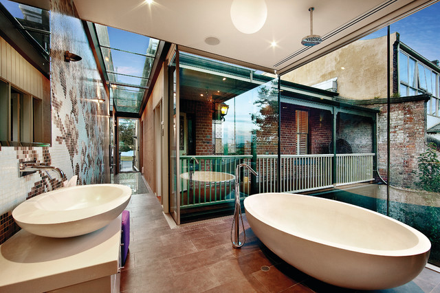 Control4 contemporary bathroom other by control4 for Home automation shower