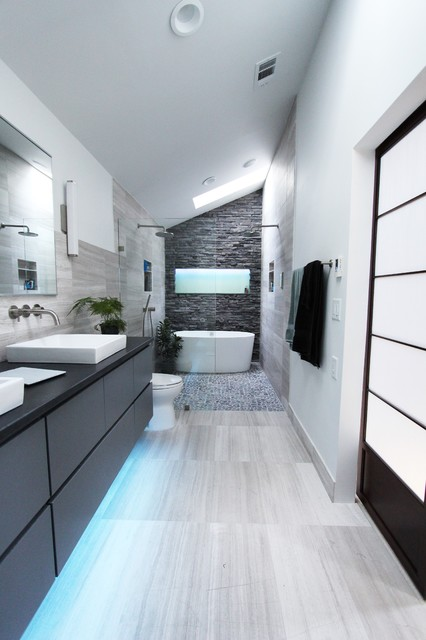 cool gray contemporary bathroom atlanta by change