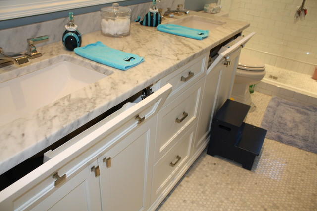 Cool kid's bathroom vanities with tip-outs for toothbrushes!