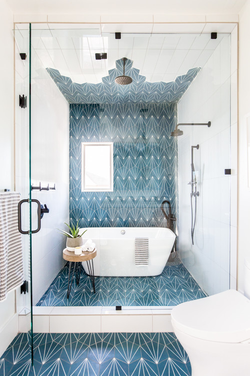picture of modern small bathroom with freestanding tub and shower