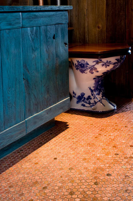 Copper Penny Floor Tile Eclectic Bathroom Phoenix