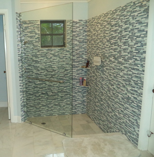 Coral Gables Fixed Glass Shower Panel - Transitional - Bathroom ...
