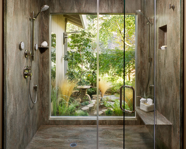 Corian rosemary shower contemporary bathroom for Garden bathroom ideas