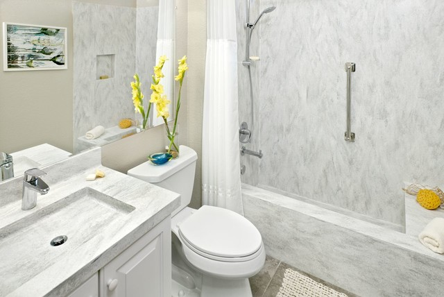 Corian Arrowroot Shower Vanity Contemporary Bathroom