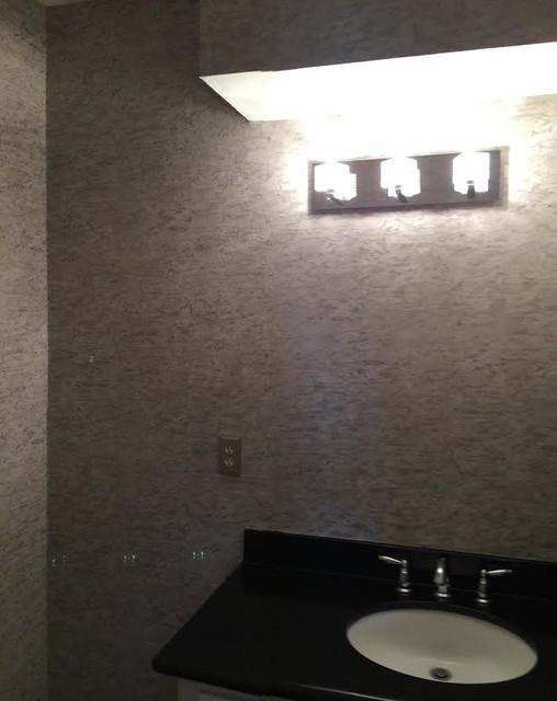 Cork wallpaper for client 39 s bathroom for Bathroom designs cork