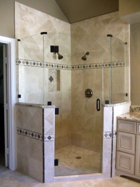 corner master shower traditional bathroom - Master Showers