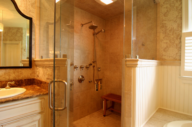 Corner Shower with Rain Hat - Traditional - Bathroom ...