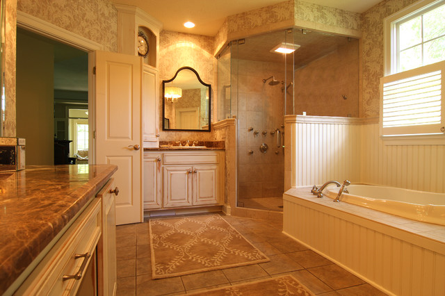 Mid Sized Traditional Beige Tile Bathroom Idea In Other With A Drop Sink