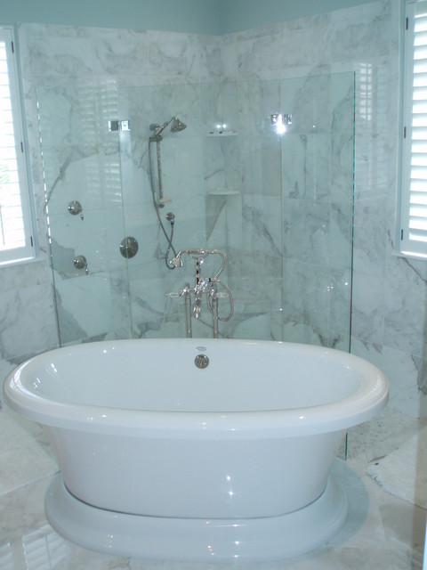 Corner shower with tub in front eclectic bathroom