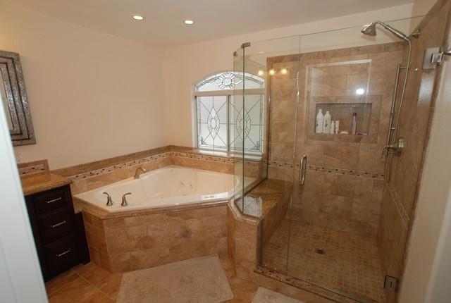 Corner tub & Shower Seat Master Bathroom Reconfiguration ...