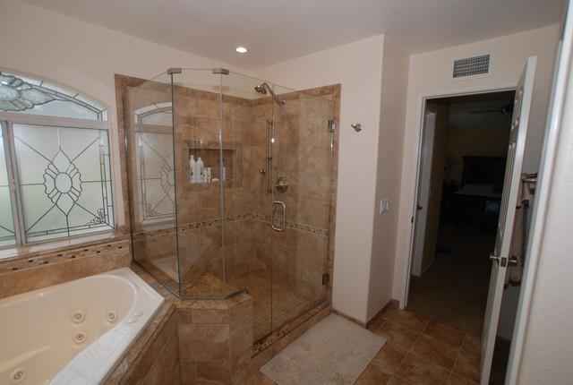 corner tub shower seat master bathroom reconfiguration yorba linda traditional bathroom - Bathroom Remodel Corner Shower