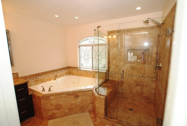 Corner tub shower seat master bathroom reconfiguration yorba linda traditional bathroom - Corner tub bathrooms design ...