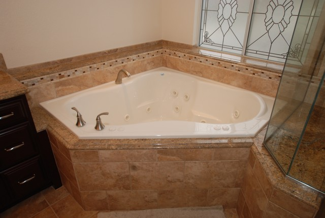 corner tub shower seat master bathroom reconfiguration yorba linda