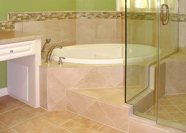 Corner Tub Bath Remodel Transitional Bathroom
