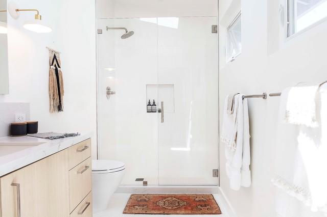 Luxury  A New Tile Floor Unites a Divided Bath
