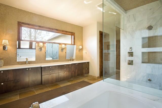 Coryell ranch modern bathroom denver by home interiors for Modern ranch bathroom