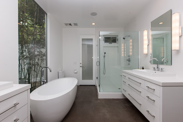 Costa mesa farmhouse contemporary remodel contemporary bathroom orange county by for Polished concrete floor bathroom