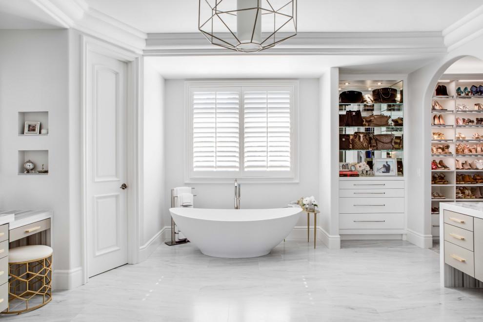 Example of a master freestanding bathtub design in Orange County