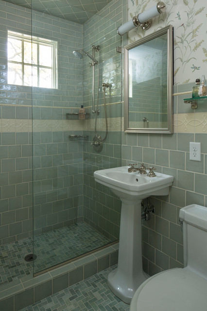 Alcove shower - traditional blue tile alcove shower idea in Minneapolis with a pedestal sink and a one-piece toilet