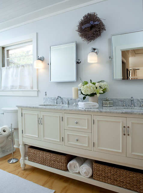 Cottage style remodel - White cottage style bathroom vanities ...