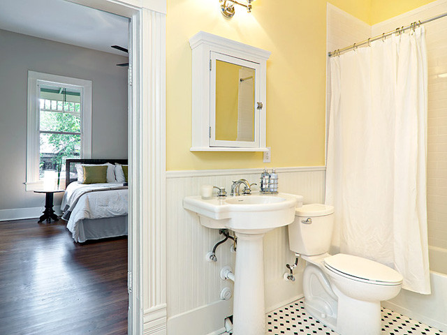 Cottage yellow bath for Bathroom ideas yellow and gray