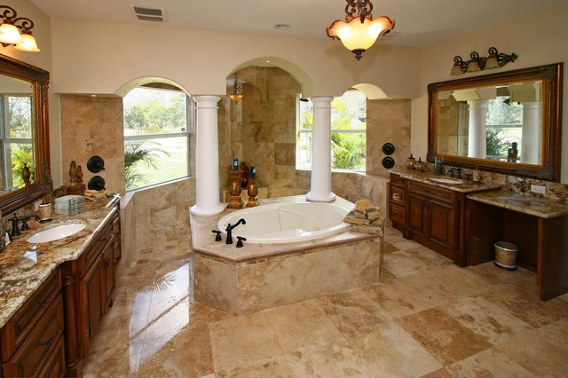 Country Classic Travertine Tiles Traditional Bathroom Tampa By Stone
