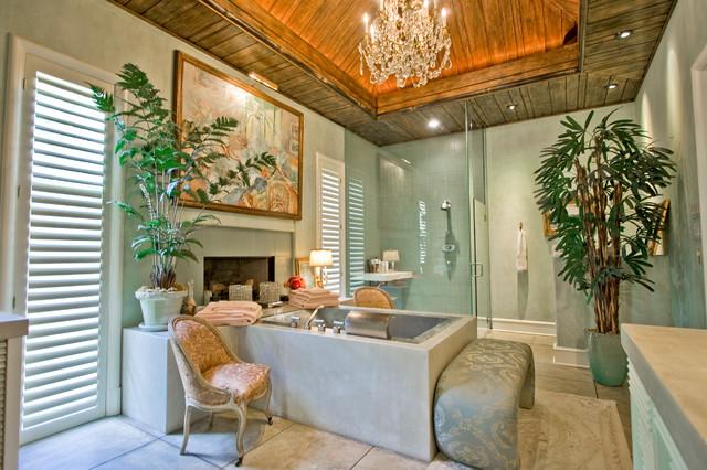 Country Club Master Bath Tropical Bathroom Little