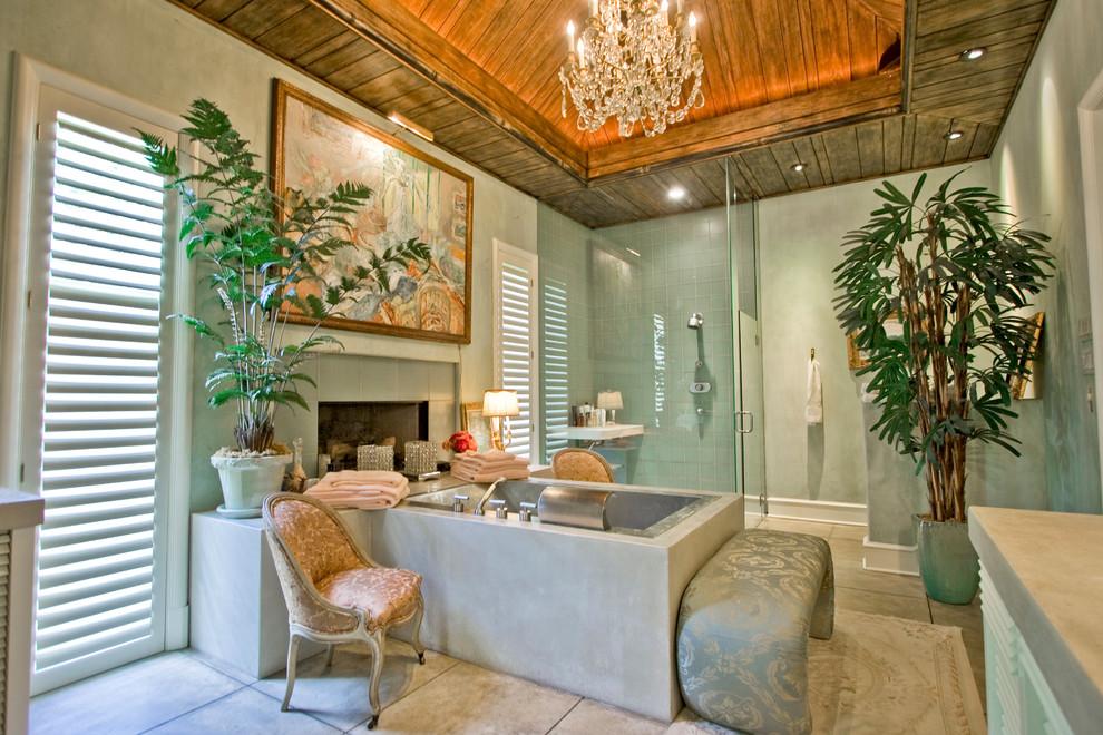 Island style drop-in bathtub photo in Little Rock
