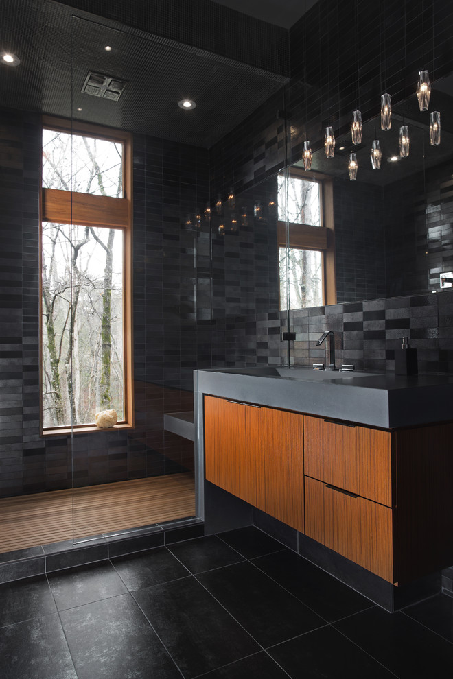 Sauna - mid-sized contemporary black tile and ceramic tile porcelain tile and black floor sauna idea in Atlanta with a trough sink, black walls and flat-panel cabinets