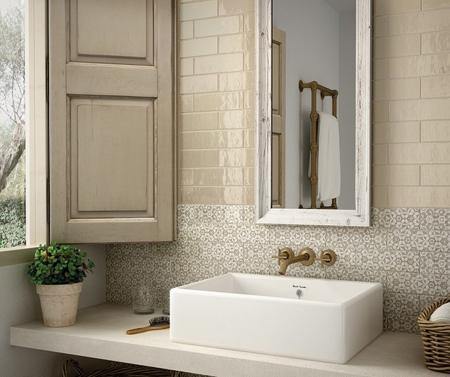 Bathroom Mid Sized Shabby Chic Style Master Beige Tile Gray And