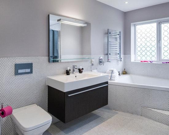 Contemporary half wall bathroom design ideas pictures remodel