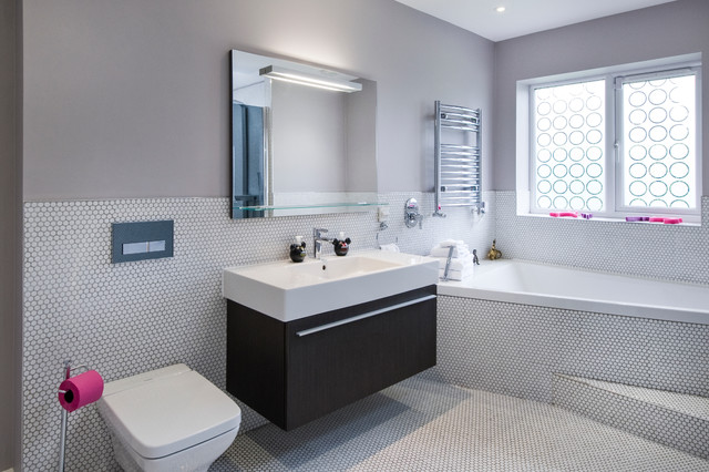 tile bathroom ideas. Inspiration for a contemporary white tile and mosaic floor  drop in bathtub Pictures Of Tiled Bathrooms Houzz