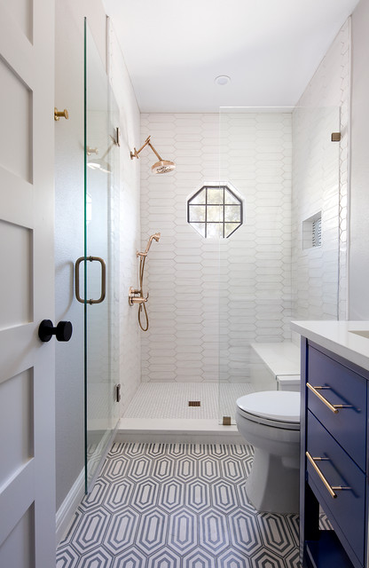 Inspiration for a small transitional 3/4 white tile and porcelain tile multicolored floor and