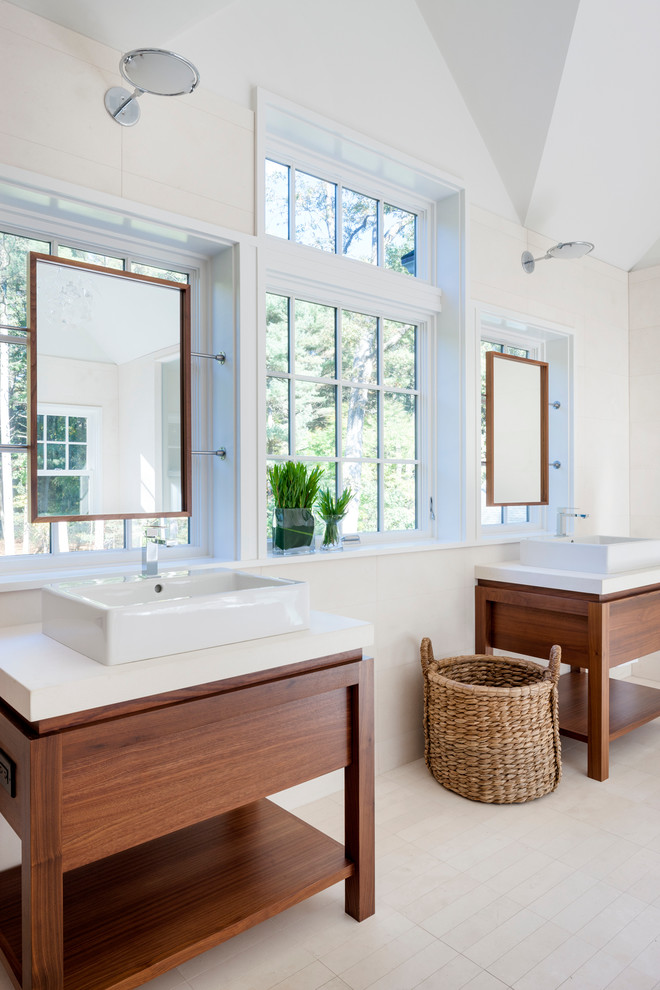 Example of a trendy bathroom design in Boston with a vessel sink