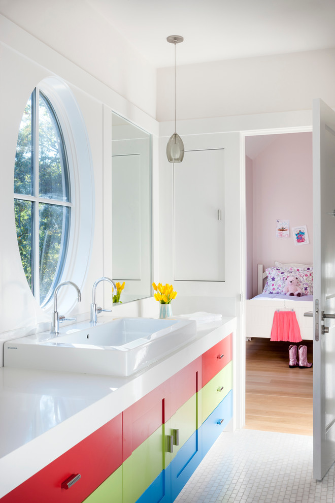 Example of a trendy kids' mosaic tile bathroom design in Boston