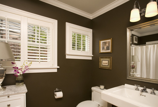 Brown And White Bathroom. Cozy Powder Bath traditional bathroom  Traditional Bathroom Seattle by Kayron