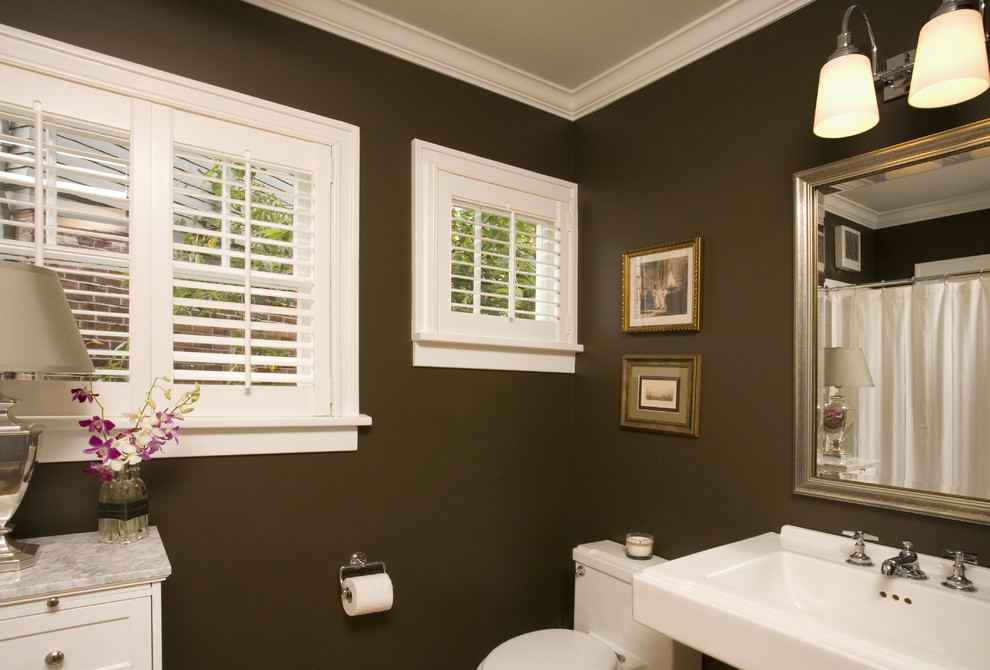 Bathroom - traditional bathroom idea in Seattle with white cabinets