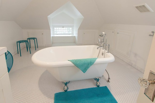 Arts and crafts white tile claw-foot bathtub photo in San Diego with shaker cabinets and white cabinets