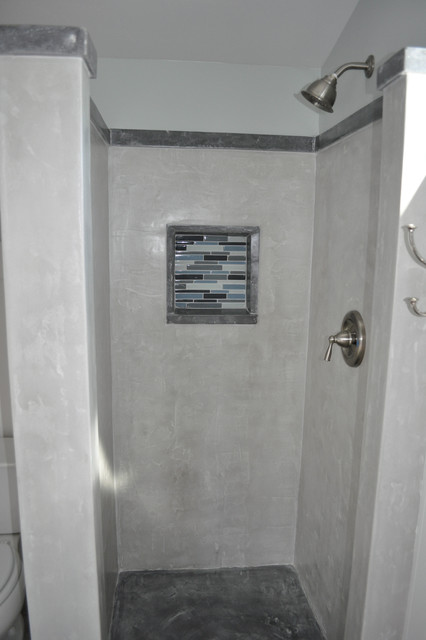 Craftsman Concrete Shower traditional-bathroom