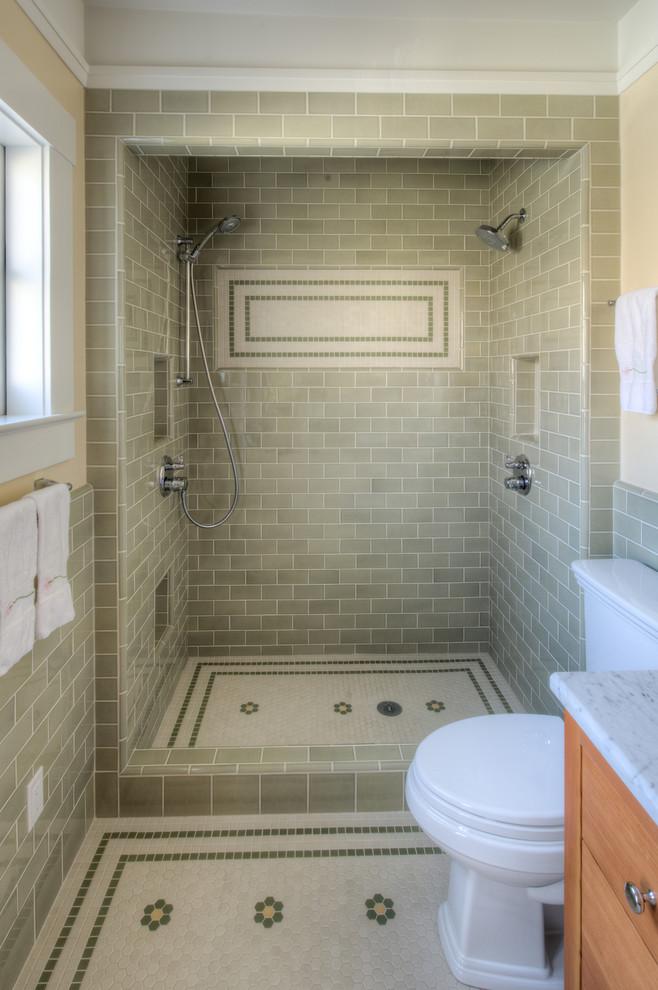 Inspiration for a craftsman ceramic tile green floor bathroom remodel in San Francisco