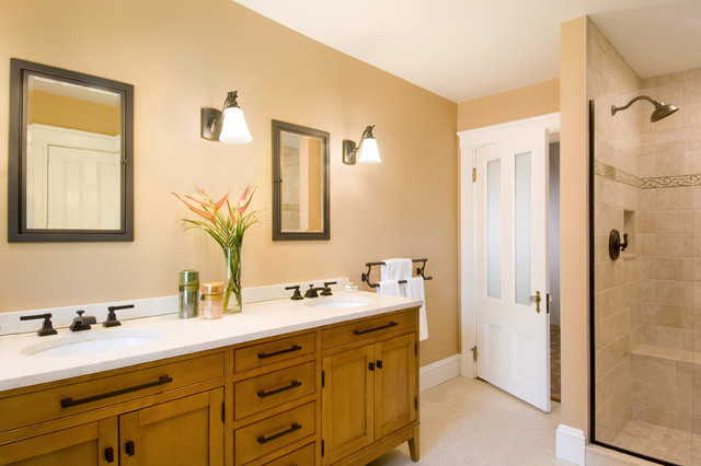 Cream Colored Bathroom Traditional Boston