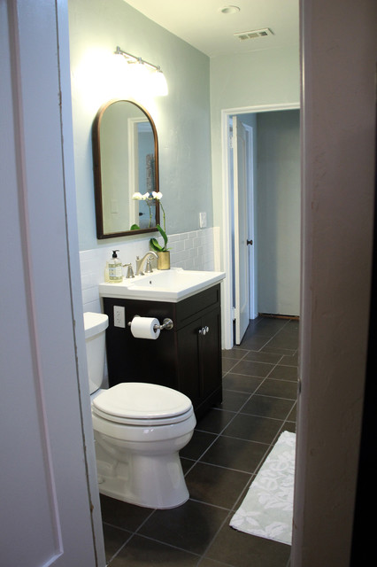Creating a Guest Bath Out of Three Closets contemporary-bathroom